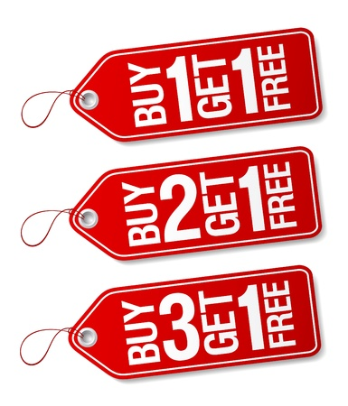 Compre uno y llévese uno gratis, las etiquetas de venta de promoción establecidos.