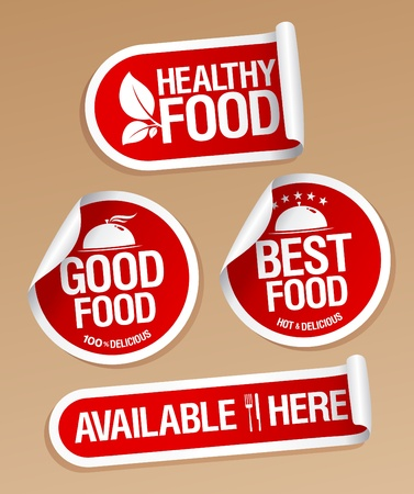 Best Healthy Food stickers pack. Stock Vector - 12486406