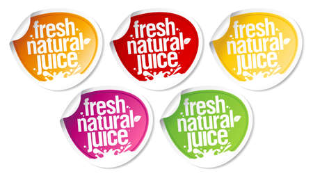 unpeeled: Fresh natural juice stickers set. Illustration
