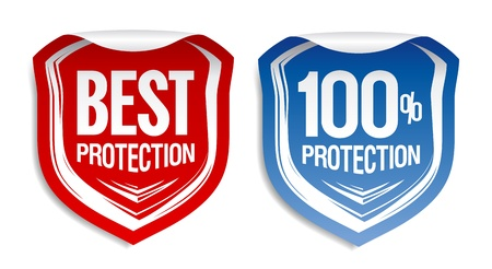 identity protection: Best protection stickers set. Illustration