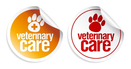 Veterinary care stickers set. Vector