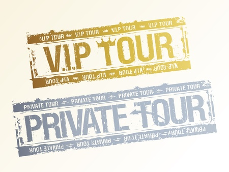 Private VIP tours rubber stamps. Vector