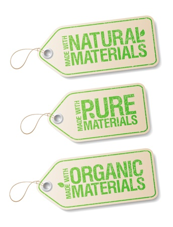 Made With Natural Pure Materials labels collection  Stock Vector - 12486440