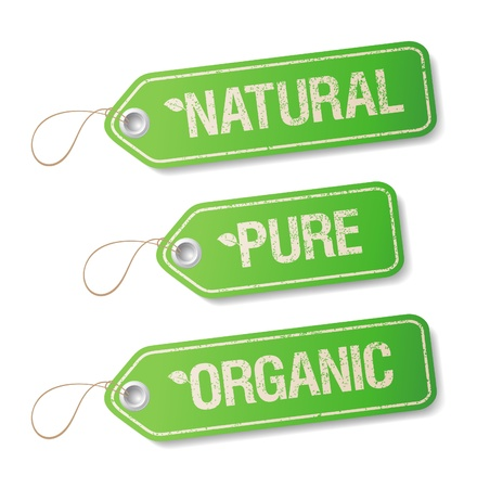 cosmetics products: Natural, Pure, Organic labels collection  Illustration