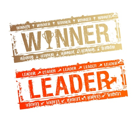 Winner and Leader rubber stamps  Vector