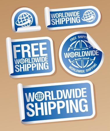 送料: 世界的な出荷ステッカー セット  イラスト・ベクター素材