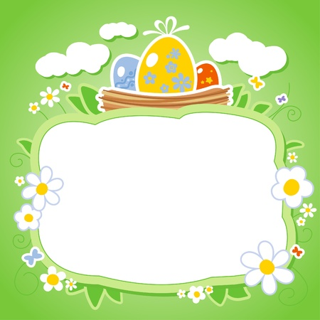 Easter card template with frame for photo or text  Vector
