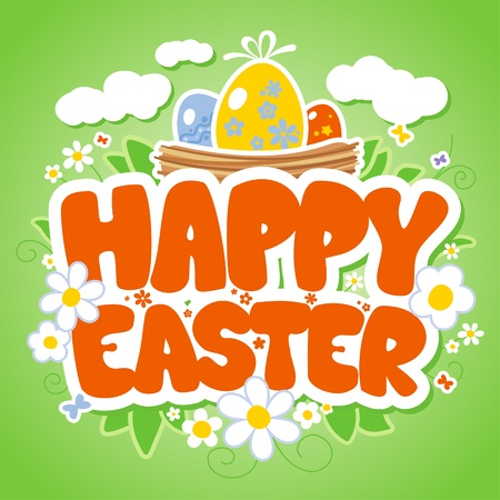 Happy Easter card template, basket with colored eggs and flowers Stock Vector - 12486446