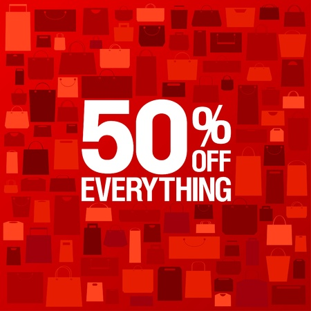 off: 50 percent off sale background with shopping bags pattern