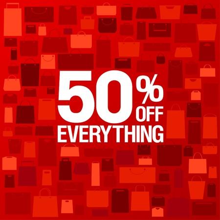 50 procent korting te koop achtergrond met boodschappentassen patroon