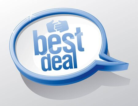 e commerce icon: Best deal shiny glass speech bubble