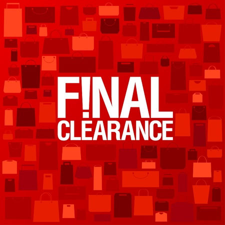Final clearance background with shopping bags pattern  Vector