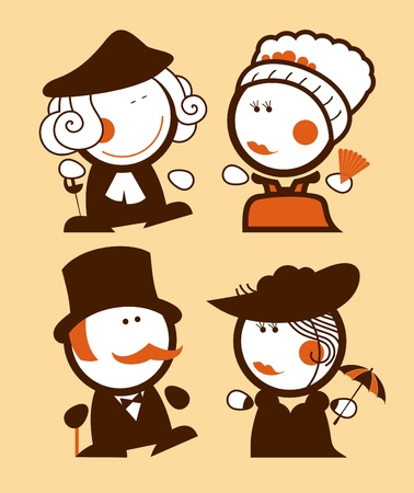 Medieval ladies and gentlemen, historical funny people icons  Vector