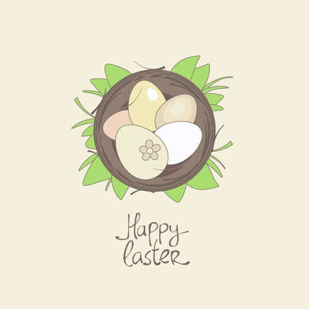 Happy Easter card template, basket with eggs in grass  Vector