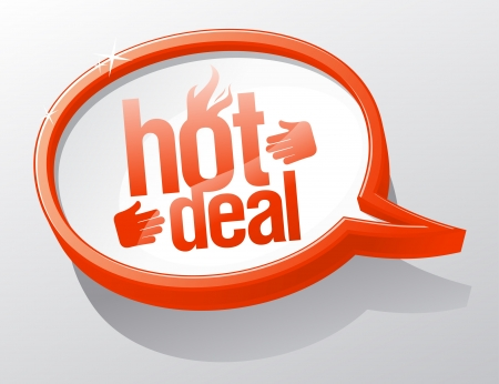 red hot: Hot deal shiny glass speech bubble  Illustration