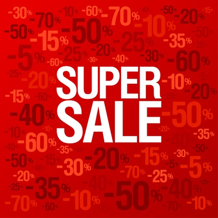 Super sale background with percent discount pattern  Vector