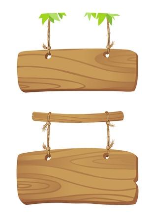 letreros: Los tableros de madera que cuelgan de una cuerda en la rama de un �rbol Vectores