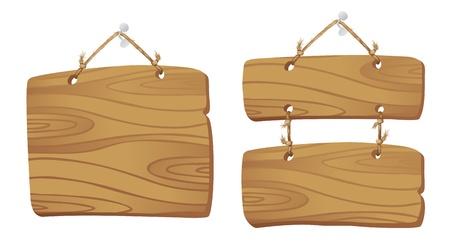 letreros: Los tableros de madera que cuelgan de una cuerda Vectores