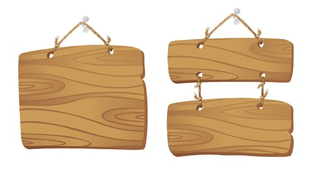 Wooden boards hanging on a cord
