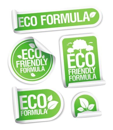 Eco Friendly Formula stickers set. Stock Vector - 12867135
