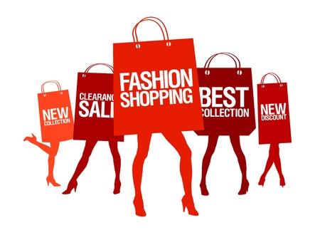 шопоголика: Покупки женщины силуэты с бумажными сумками, векторные иллюстрации.