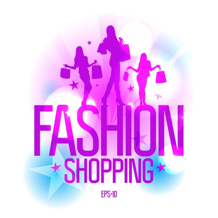 Fashion shopping design template with fashion girls silhouette in ray lights. Eps10 Vector. Vector