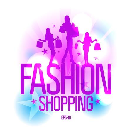 fashion shopping: Moda plantilla de dise�o de moda con las ni�as silueta en las luces de rayos. Eps10 Vector.