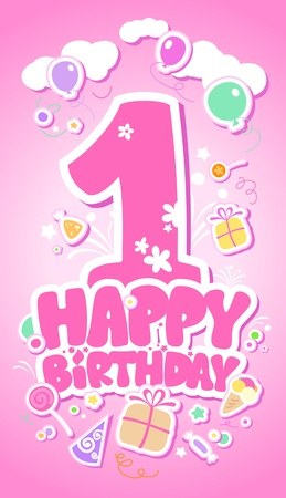 first birthday: First Happy Birthday pink card. Illustration