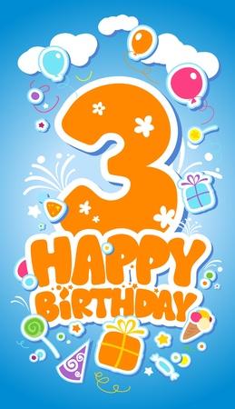 pelota caricatura: Tarjeta de cumpleaños Tercera.