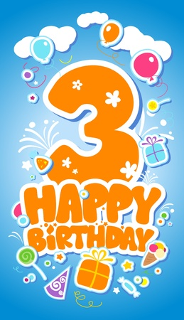 3rd: Third Birthday card.