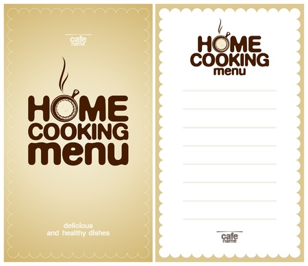 Home Cooking Menu Design template and the form for a list of dishes. Vector