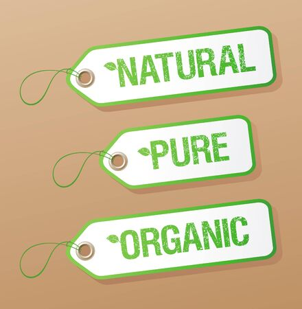 Natural, Pure, Organic labels collection. Vector