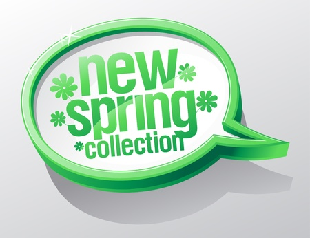 New spring collection shiny glass speech bubble. Vector