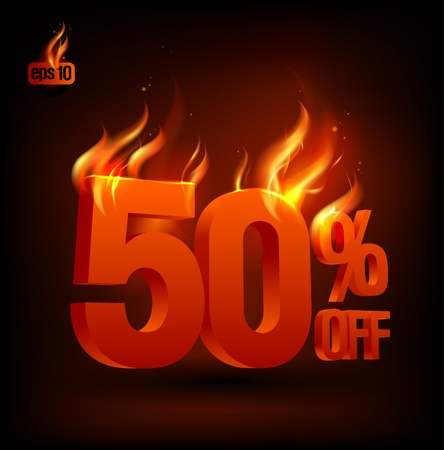 off on: Fiery 50 percent off, sale background  Eps10 Vector