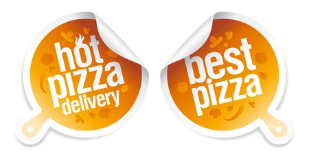 Best pizza, hot pizza delivery stickers  Vector