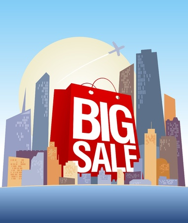 Big sale shopping bag in city, vector poster  Vector