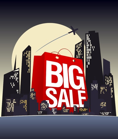 Big sale shopping bag in night city, vector poster  Vector