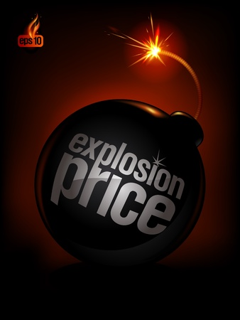 Cena eksplozja, tło sprzedaż z bombą. Eps10 Vector.