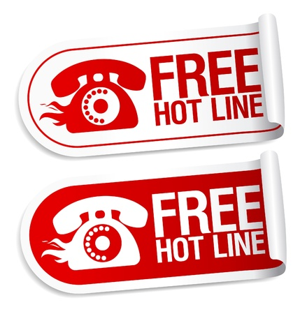 Free Hot Line stickers set. Vector