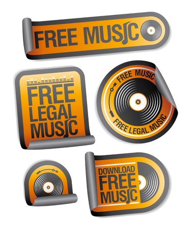 Free legal music stickers pack. Vector