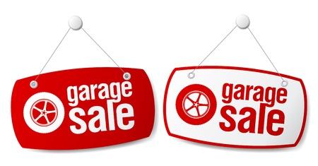 forsale: Garage for sale signs set.