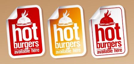 Hot burgers, stickers set.