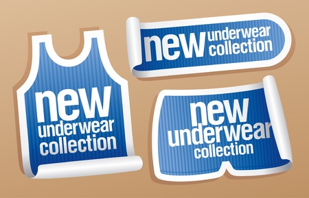 New underwear collection for men, vector stickers set.