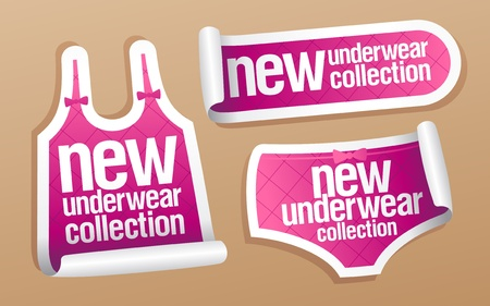 ollection: New underwear collection for women, vector stickers set. Illustration
