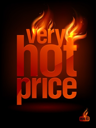 fervent: Fiery Very Hot Price, sale background. Eps10 Vector.