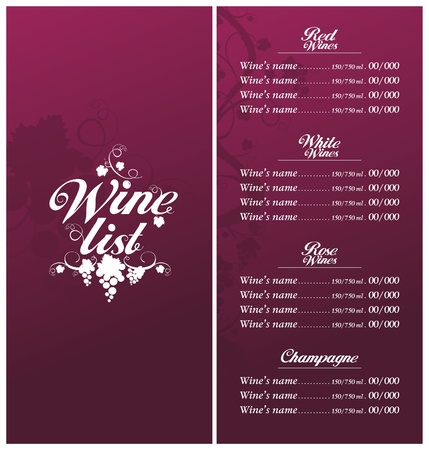 Wine List Menu Card Design template. Stock Vector - 12867166
