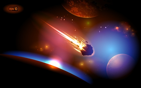 Asteroid is approaches the planet. Stock Vector - 12964700