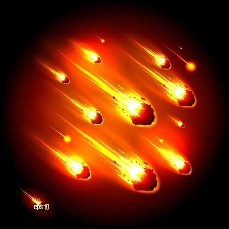 Meteorites on the black background. Stock Vector - 12964707