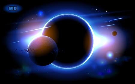 Pianeti al sorgere del sole sullo sfondo del cosmo.