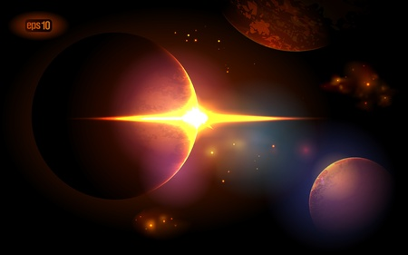 Planets at sunrise on the background of the cosmos. Stock Vector - 12964705